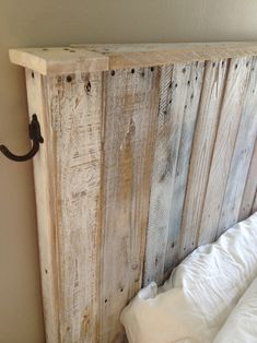 Pallet Wood Headboard Handmade by Mark Odlum from salvaged wood pallets. Antique hooks from Liz's Antique Hardware. Found a discarded pallet in an alley and immediately thought we should have this. Diy Bed Headboard, Reclaimed Wood Headboard, Headboard Designs, Headboards For Beds, Salvaged Wood, Pallet Headboards, Headboard Ideas, Wood Pallets, Pallet Wood