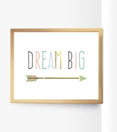 Dream Big Nursery Quote Printable Decor Arrow Peach Mint Gold Pink Gray Art Pastel Coral Seafoam Green Decor Gold Home Decor Kids Room Print