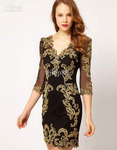 Cheap Party Dress - Discount Gold Embroidery Black Fashion Sexy Sheath Fashion Evening Online with $99.0/Piece | DHgate
