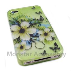 CLICK PIC. TO SHOP: The green daisy's hard case snap on cover for the Apple iPhone 4 is a great stylish cover case made with Grade A Abs plastic. It protects your phone from scratches and scuffs and is very affordable. Also there are many other cases available. Order today and we will ship the same business day! 15% COUPON CODE : PINIT
