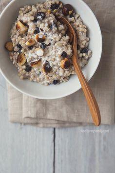 Hazelnut and Blueberry Kasha (Buckwheat Groats) #recipe via FoodforMyFamily.com