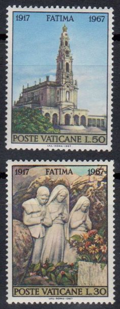 Vatican stamps from 1967 commemorating the apparition of the Virgin Mary to 3 shepherd children at Fatima, 50th anniversary.