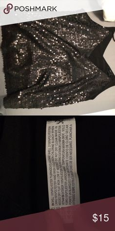 Glittery black tank top Glittery only on front side of shirt, tank top, low cut Forever 21 Tops Tank Tops