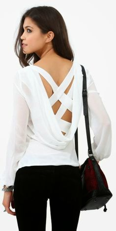 Criss cross long sleeve white blouse