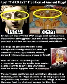 "Evidence of these ""THIRD EYE"" images amid Egyptian ruins indicates that the Egyptians, like their Hindu contemporaries, practiced a spiritual custom now considered mainly Hindu. This begs the quest..."