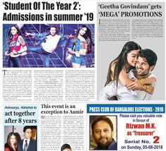 'Student Of the Year 2': Admissions in summer'19.'#GeethaGovindam'gets'MEGA' PROMOTIONS. #Aishwarya,#Abhishek to Act together after 8 years. #Tigershroff #KaranJohar #Ananya #Tara #StudentOfTheYear2 #Amirkhan #Paperboy #Eveningtimes Aishwarya Abhishek, Student Of The Year, Tiger Shroff, Karan Johar, Year 2, Acting, Finance, It Cast, Politics