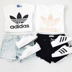 If you love comfortable clothes than these sporty outfits are perfect choose for you. Let yourself get inspired with chic selection of the most valuable sports brand Adidas and vote for your favorite look. Summer Fashion Outfits, Sporty Outfits, Cute Casual Outfits, Outfits For Teens, Girl Outfits, Looks Adidas, Best Friend Outfits, Outfit Trends, Adidas Outfit