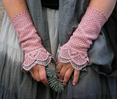 Beauty and the Dust - crocheted open work lacy wrist warmers cuffs on Etsy, Sold Wrist Warmers, Hand Warmers, Crochet Gloves, Knit Crochet, Pink Gloves, Lace Gloves, Gris Rose, Girly, Mori Girl