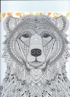 "From the coloring book ""The Menagerie"" animal portraits to color"