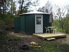 180 Sq. Ft. Yurt Cabin with Solar Power: Off Grid Mortgage-free Living Setup (Available as a Kit) http://tinyhousetalk.com/180-sq-ft-yurt-cabin/