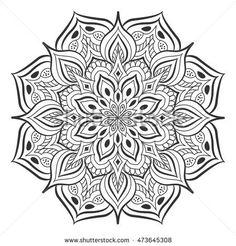 Mandala. Ethnic decorative elements. Hand drawn circular ornament. Islam, Arabic Indian Ottoman motifs. Coloring Pages For Grown Ups, Cool Coloring Pages, Mandala Coloring Pages, Coloring Books, Mandala Doodle, Mandala Tattoo, Geometric Flower, Flower Mandala, Mandala Pattern