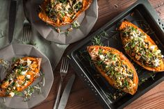 Stuffed Sweet Potato with Spinach and Feta |  cheese, parmesan and pine seeds. The measurements are simply an estimate or a guideline for you. It depends on the size of the potatoes and on your skills to stuff them up as much as you can. Comforting, simple and delicious! @SDietzphoto