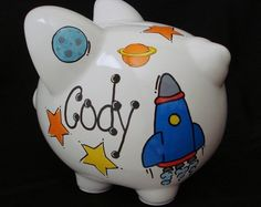 Personalized fire truck piggy bank baby boy pinterest trucks piggy bank and fire trucks - Rocket piggy bank ...