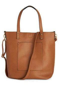 Whatever your profession, you'll love this caramel-colored tote bag! Made from vegan faux leather into a crisp rectangular shape, this bag opens with a simple a snap, keeping your work essentials at the ready.