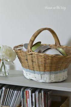 Painted Stripe Basket via House on the Way #paint #basket