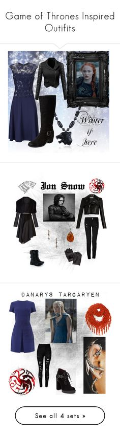 """""""Game of Thrones Inspired Outifits"""" by trailblazer98 ❤ liked on Polyvore featuring art, Yves Saint Laurent, BCBGMAXAZRIA, Balmain, J&P, Lauren Wolf, Be-Jewelled, Adrianna Papell, Seychelles and Carolina Glamour Collection"""
