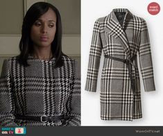 Olivia's houndstooth coat on Scandal.  Outfit Details: http://wornontv.net/40913/ #Scandal