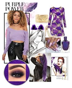 """10."" by luana1208 on Polyvore featuring Suva Beauty, Yves Saint Laurent, Stuart Weitzman, Delpozo, purplepower, internationalwomensday and pressforprogress"