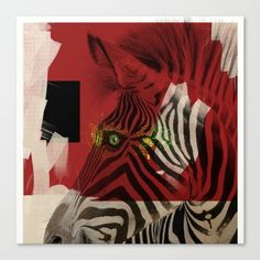 "Zebra 4.0 abstract by Nola Lee Kelsey. Fine art print on bright white, fine poly-cotton blend, matte canvas using latest generation Epson archival inks. Individually trimmed and hand stretched museum wrap over 1-1/2"" deep wood stretcher bars. Includes wall hanging hardware."