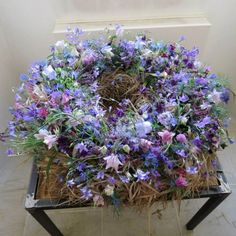 rustic violet wreath #floral #funeral #tribute