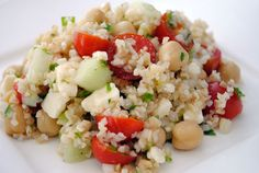 Middle Eastern Bulgur Salad from  How's it taste?  3/4 cup uncooked bulgur  1 can (15 oz.) chick peas (garbanzo beans), drained, rinsed  1 cup chopped cucumber  1 cup halved grape tomatoes  1/2 cup green onions, thinly sliced  1/2 cup crumbled feta cheese  1/4 cup chopped fresh parsley  2 tbsp. fresh lemon juice  2 tbsp. olive oil  1/2 tsp. salt Vegetarian Side Dishes, Vegetarian Recipes, Healthy Recipes, Healthy Salads, Bulgur Salad, Clean Eating, Healthy Eating, Middle Eastern Recipes, Summer Salads