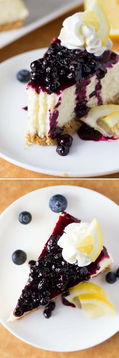 Lemon Cheesecake with Blueberry Sauce. Creamy cheesecake, perfectly tangy lemon & juicy blueberry sauce - the PERFECT cheesecake flavor combo! Blueberry Topping, Blueberry Compote, Blueberry Sauce, Blueberry Recipes, No Bake Desserts, Easy Desserts, Dessert Recipes, Lemon Cheesecake, Cheesecake Recipes