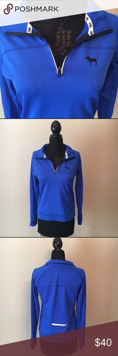 NEW Royal Blue PINK VS Quarter Zip Longsleeve Never been used! Very stretchy and has a pocket in the back outlined with reflective material. 90% polyester 10% elastane. Thumb holes at the bottom of the sleeves. PINK Victoria's Secret Jackets & Coats