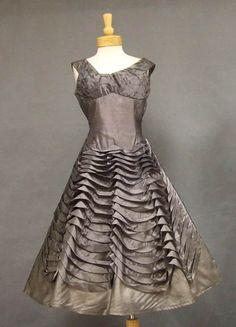 Gunmetal Organdy 1950s Cocktail Dress w/ Waving Ruffles