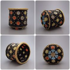 Circle pattern basket - beaded basket - collectible basket - bead art - bead woven basket - beadweaving