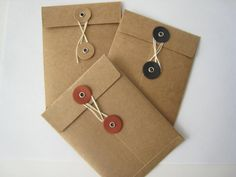 Items similar to Small String Tie Envelope - String Closure Envelope - Kraft Color - ACEO Envelope - QTY: 10 on Etsy Paper Packaging, Bag Packaging, Packaging Design, Diy Envelope, Envelope Design, Stationery Pens, Stationery Design, Paper Envelopes, Kraft Envelopes