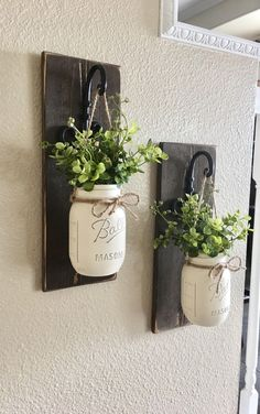 mason jar hanging planter home decor wall decor rustic decor hanging mason jar sconce mason jar decor hanging planter with greenery - Wood Design