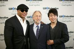 GRAMMY winner LL Cool J and GRAMMY-nominated pianist Lang Lang help congratulate Recording Academy President/CEO Neil Portnow, who was honored with the UJA-Federation of New York's 2014 Music Visionary of the Year Award on June 25 in New York