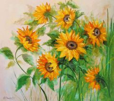 Sunflowers 80x90 (2016) Oil painting by Olha Darchuk  https://www.artfinder.com/product/sunflowers-80x90/?utm_campaign=crowdfire&utm_content=crowdfire&utm_medium=social&utm_source=pinterest