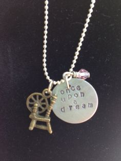Disney Aurora/ Sleeping Beauty Inspired Hand Stamped Charm Necklace $18.00 USD