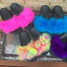 Brand new summer colors get you a pair today! Custom Nike Fur Slides , very comfy. Come in all colors and sizes. Nice summer slide. We have all the cute spring and summer colors.   Benassi Nike Slides. Sizes 11 and 12 may vary-$45.