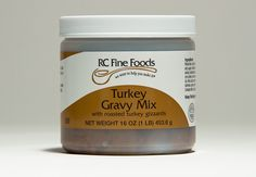 RC No Added MSG Turkey Gravy Mix creates a rich flavorful home-style pan turkey gravy. A paste containing USDA inspected turkey (including fat, meat and roasted giblets), flour and seasonings. This mix dissolves easily in water and then heated to a boil. Traditionally served with roasted turkey, potatoes and stuffing or used as a base for creamed turkey dishes, casseroles and soups. The mix contains no added MSG. Available in 16 oz. single jars and 12/16 oz. cases.