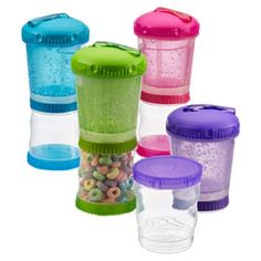 Snack Time double container. Top has freezer gel and holds liquids, bottom holds snacks. Container Store $5