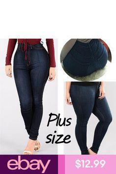 bde8c4bb87f8f Womens Plus Size Stretch Denim Skinny Jeans Leggings Pants High Waist  Trousers