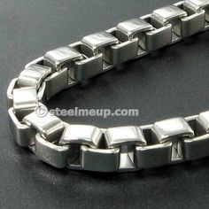 Stainless Steel Thick Box Chain Men Necklace 6mm
