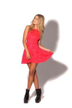 Red Lace Skater Dress › Black Milk Clothing