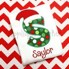 SAMPLE SALE - Santa Hat Initial Embroidered Shirt or Onsie,Christmas Shirt, Santa Shirt, Girls Shirt, Boys Shirt on Etsy, $17.00