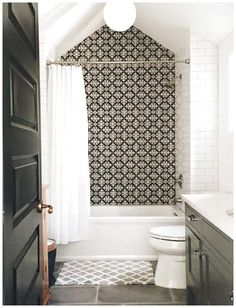 Bathroom Design Ideas Tile, Cement Tile, Subway Tile, Black And White  #CeramicFloorDesign