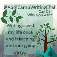 A little behind with the #aprilcampwritingchallenge... #Writing saved my life once and is keeping me from going crazy (although a lot of people probaly think that I am crazy but I don't care). Sometimes I get writer's block and just feel like quitting deleting every word I ever wrote but at the end of the day I sit down at my desk and start writing again (or #plotting or #editing or simply thinking about my books). I'm addiccted and I just can't stop it. Of course there are days of doupt and…