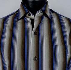 Tommy Bahama Mens M Silk Blend Striped Shirt Long Sleeve Button Down Brown Blue  #TommyBahama #ButtonFront