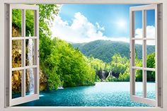 Forest Lake Scene 3D Window View Decal WALL STICKER Decor Art Mural H72 Huge *** To view further for this item, visit the image link.