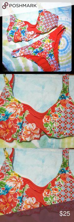Bikini Lab~ NWOT Bikini Lab *floral print bikini *beautiful bright red, green, blue and yellows *Top is size S, slightly padded for support *Cheeky Bottoms size M *NWOT! Bikini Lab Swim Bikinis