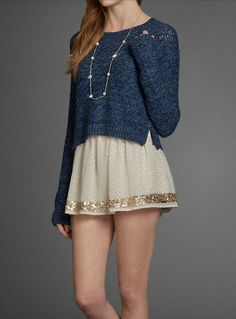 Pretty Shine Necklace with cute navy blue sweater and skirt