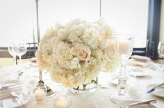 lunch table display-doesnt need to be so big. thinking as yellow flowers dont appeal maybe use all white then we can use it in the evening as well White Wedding Flowers, Blush Flowers, White Flowers, Floral Wedding, White Hydrangeas, Beautiful Flowers, Blush Centerpiece, Wedding Table Centerpieces, Flower Centerpieces