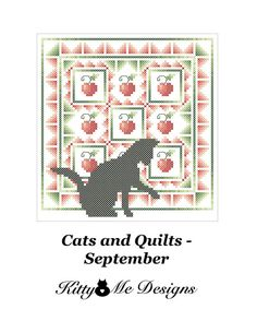 Cross Stitch Pattern PDF Cats and Quilts September by arcadecache, $8.95