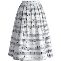 Chicwish Dance With Music Notes Pleated Midi Skirt ($48) ❤ liked on Polyvore featuring skirts, mid calf skirt, knee length pleated skirt, evening skirts, pleated midi skirt and cocktail skirts